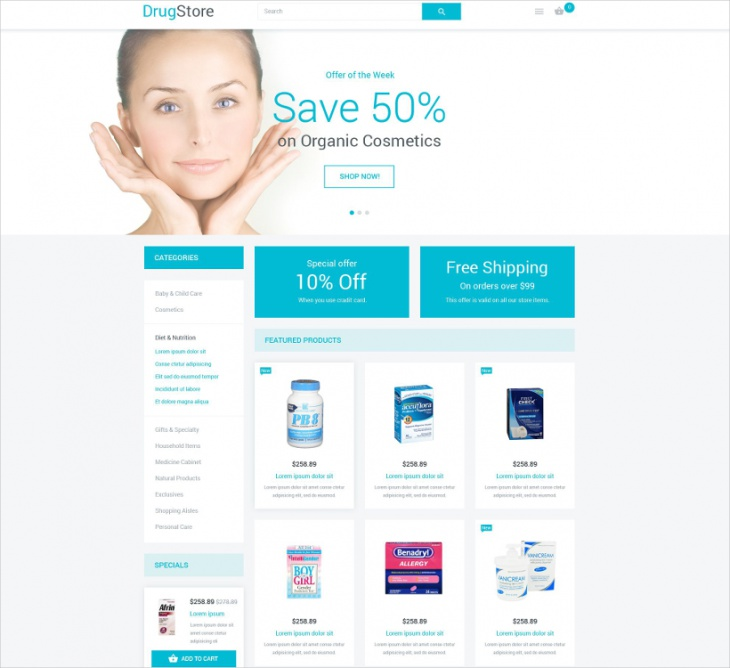 magento drug store template