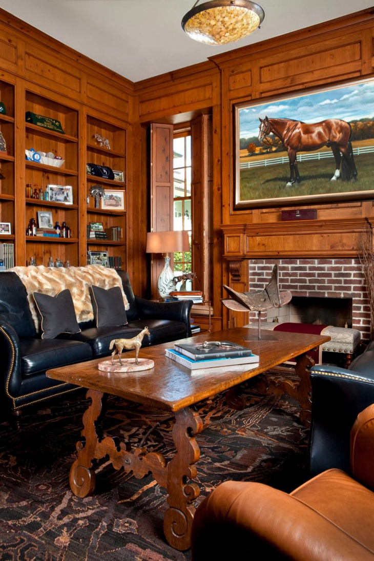 Luxurious Home Office With Wood Paneling