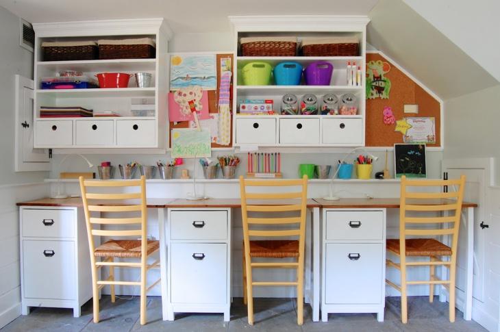Trendy Shelf Desk Design for Kids