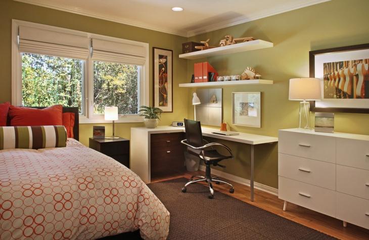 Modern Shelf Desk Design in Bedroom