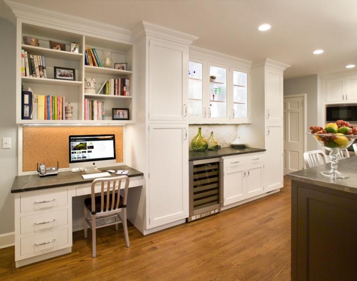 White Color Shelf Desk Design