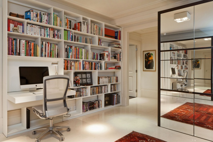 Nice Desk Design with Book Shelves