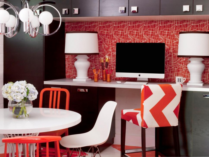 Modern Home Office In Red Gives Rich Look