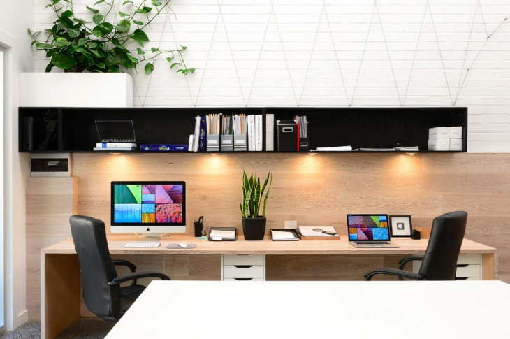 Elegant Desk with Black Wood Shelves