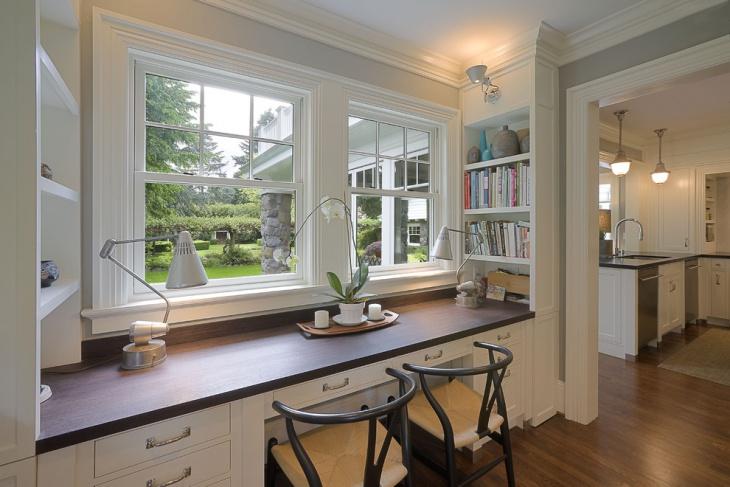 Wood Desk Design with Open Shelves