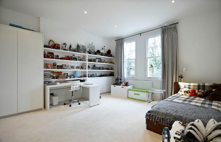Bright White Shelf Desk Design for Boys