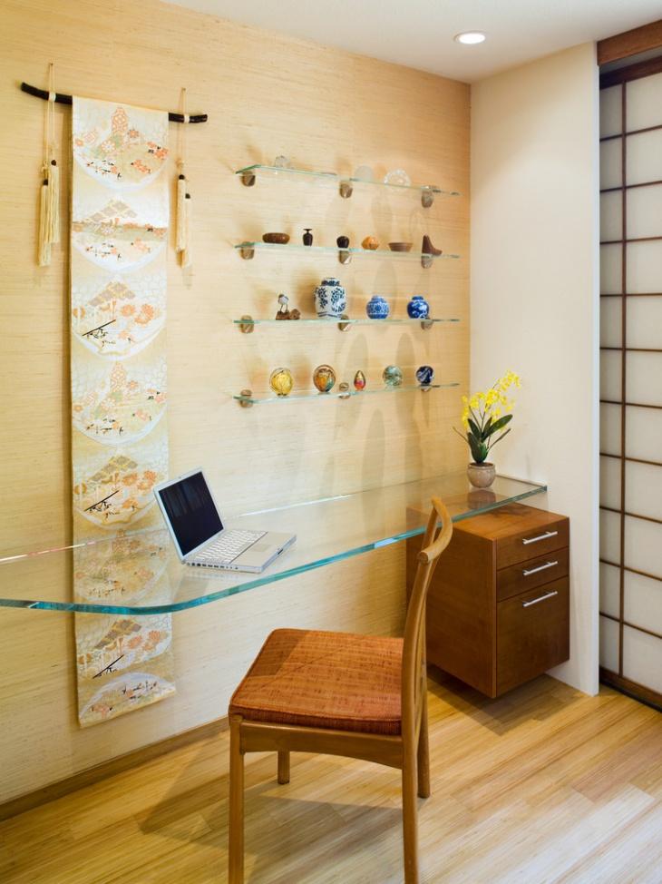 Asian Desk Design with Glassy Shelves