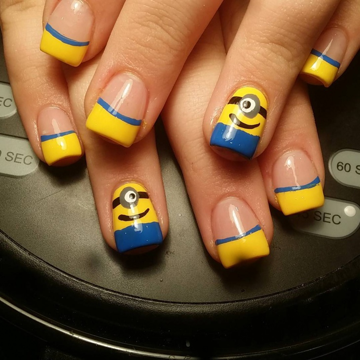 Minion Half Fake Nail Design - 20+ Minion Nail Art Designs, Ideas Design Trends - Premium PSD