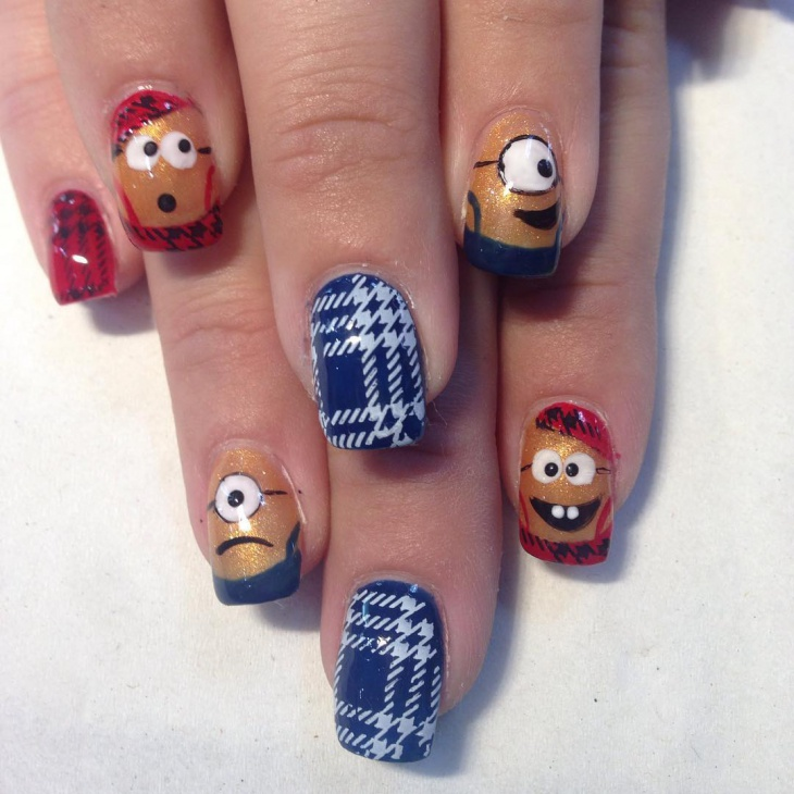 Minion Checkered Nail Art