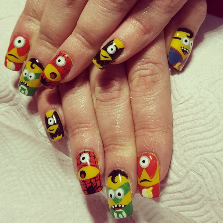 Minion Nail Art for Long Nails
