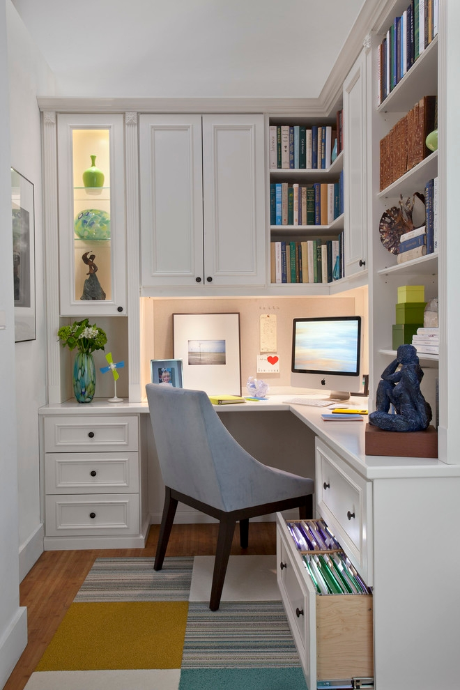 Home Office With Designed Book Shelves