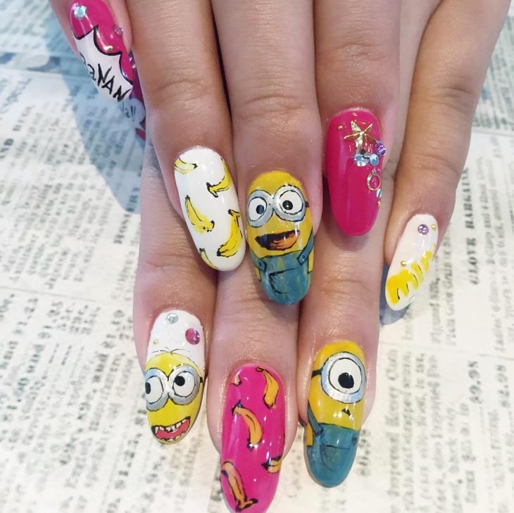 rhinestone minion nail art