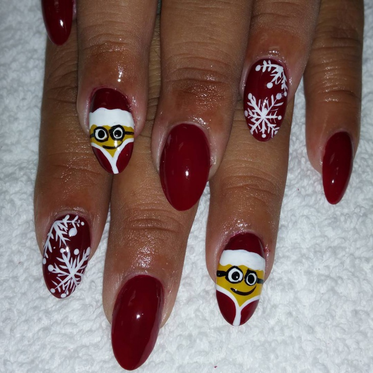 Attractive Red Colored Minion Nail Art