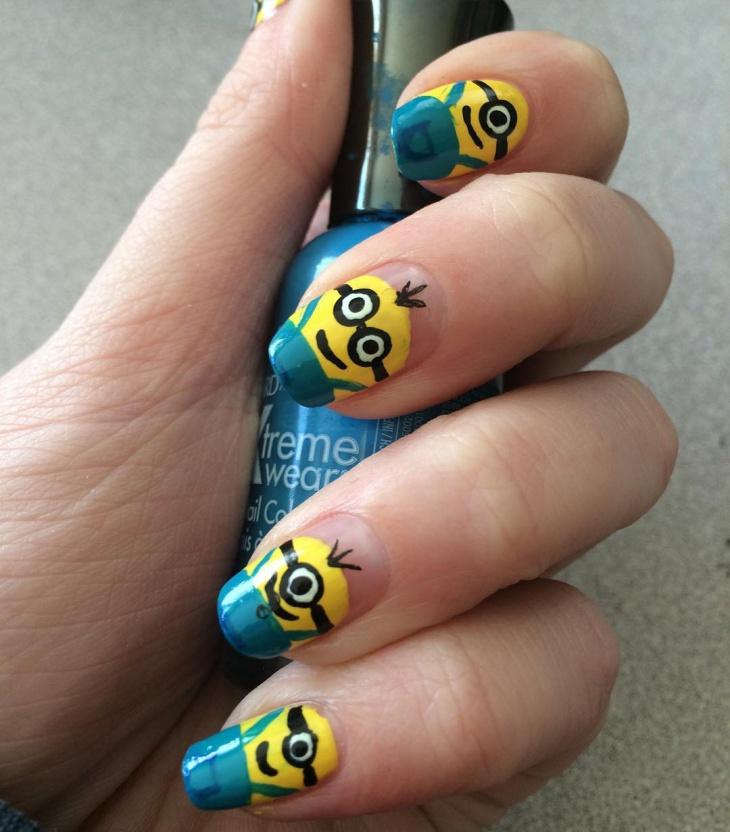 Minion Print Nail Design