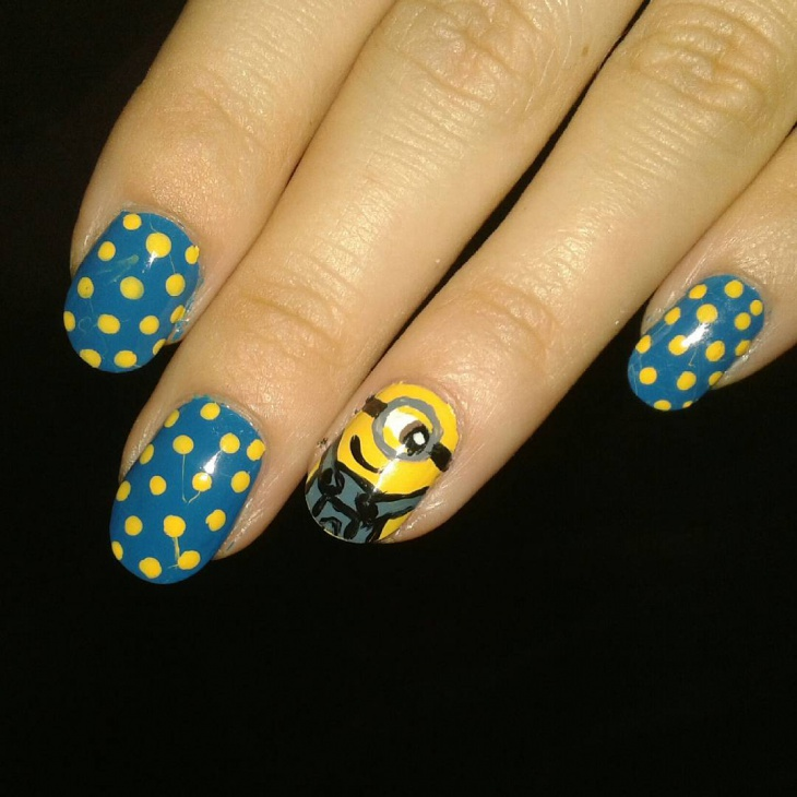 Polka Dot Minion Nail Art
