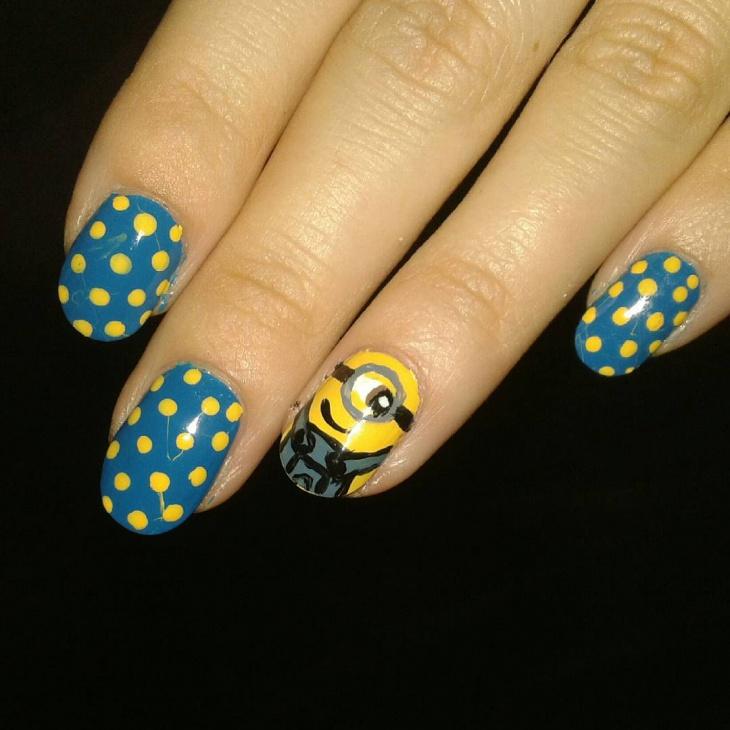 polka dot minion nail art