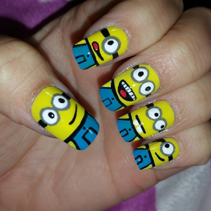 Yellow and Blue Minion Nail Design