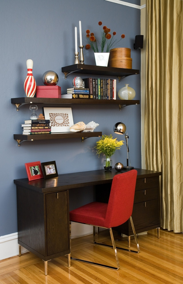 Small Home Office With Wooden Shelves