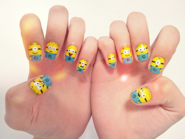 Beautiful Minion Nail Art Designs