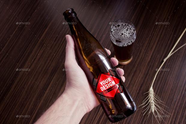 stylish beer bottel mockup