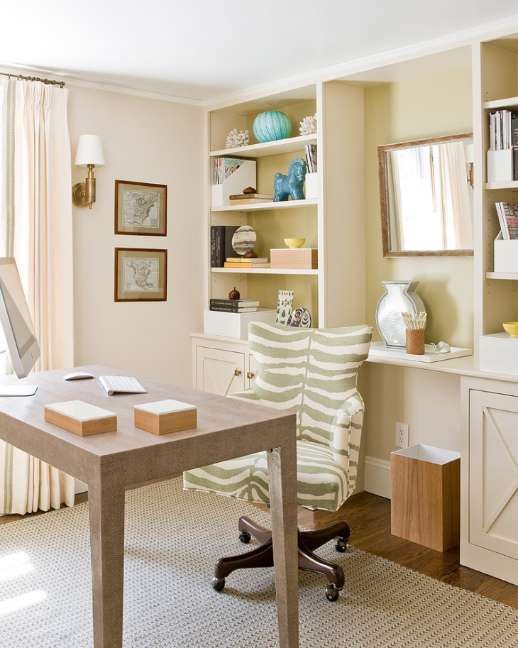 Beach Style Home Office with Built in Shelves