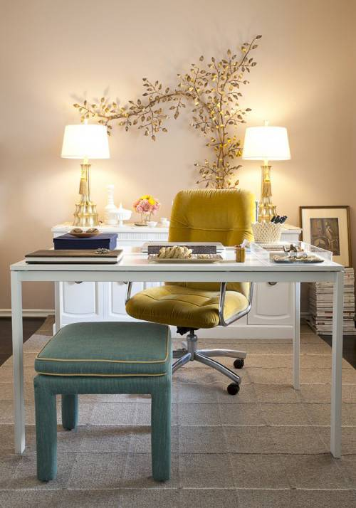 Shabby Chic Style Office With Designed Tree Art