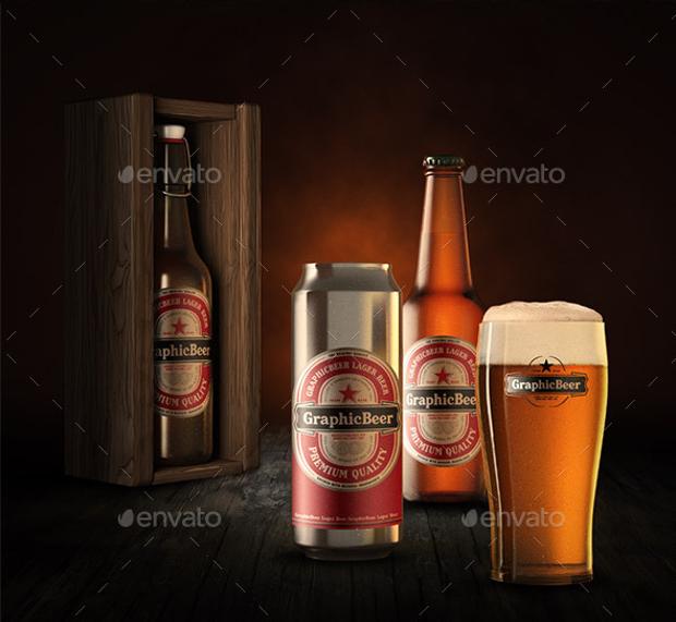 best mockup design of beer bottle