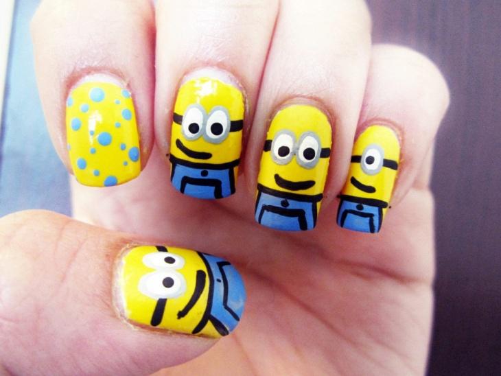 gorgeous minion nail art