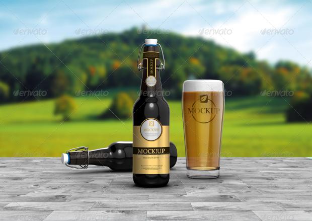 elegant design of beer bottle mockup