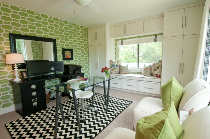 Contemporary Home Office with Pattern Designed Wall