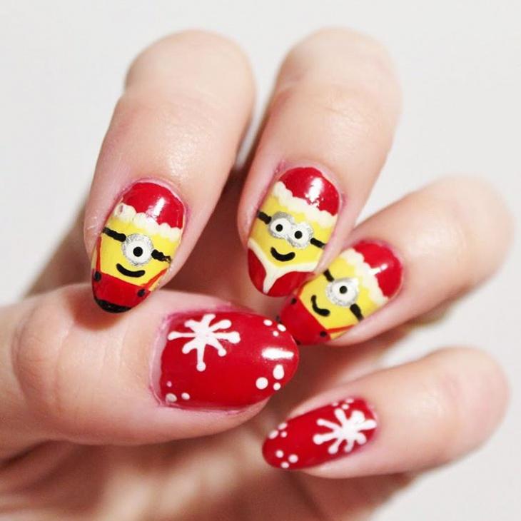 acrylic minion nail art design