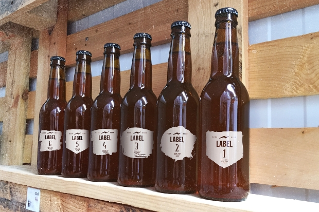retro style beer bottle mockup