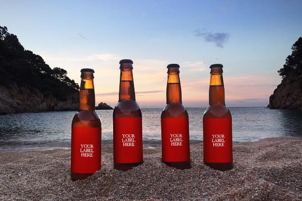 smart design for beer bottle mockup