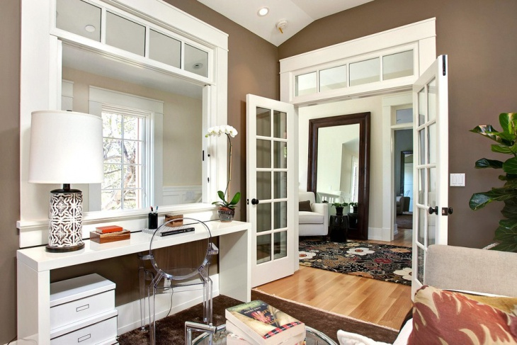 Transitional Home Office with Beautiful Interior