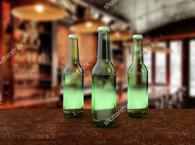 pack of green bree bottle mockup