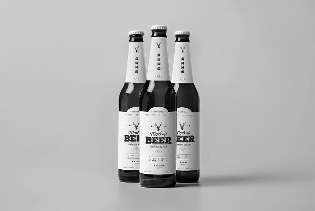 simple beer bottle psd mockup