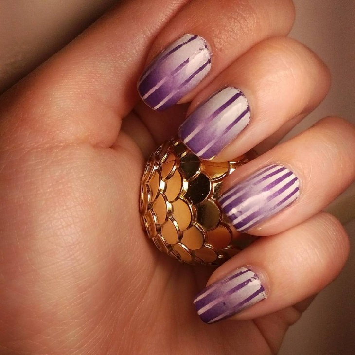 Striped Gradient Nail Design