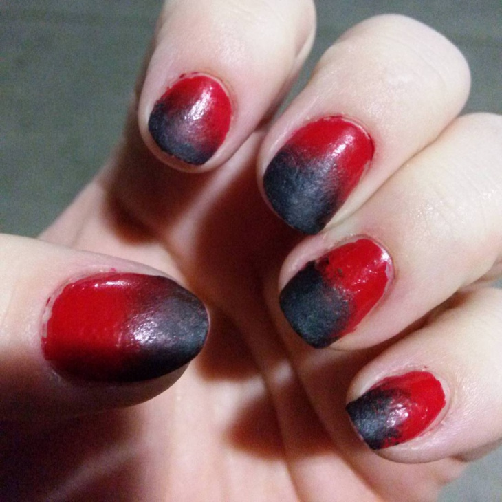 Red and Black Gradient Nail Art