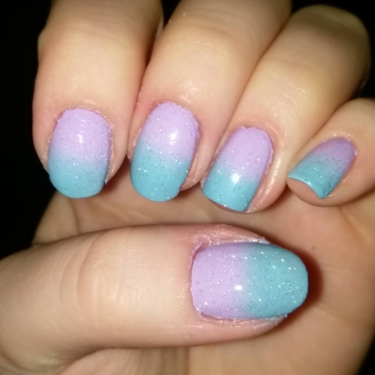 Blue Gradient Nail Design