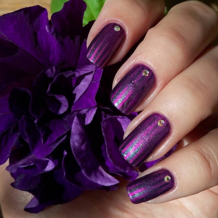 Rhinestone Gradient Nail Design