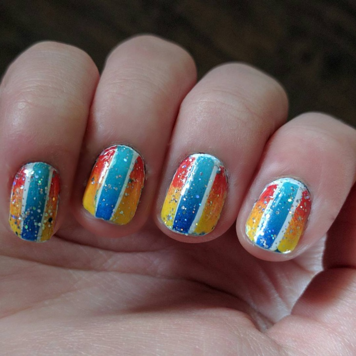 Stripes and Glitter Nail Design