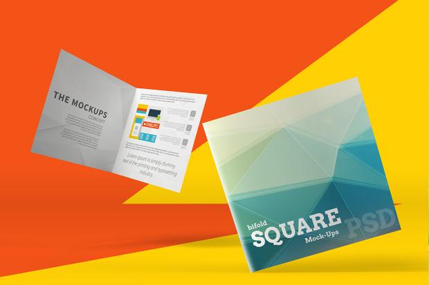 square bi fold brochure mockup design