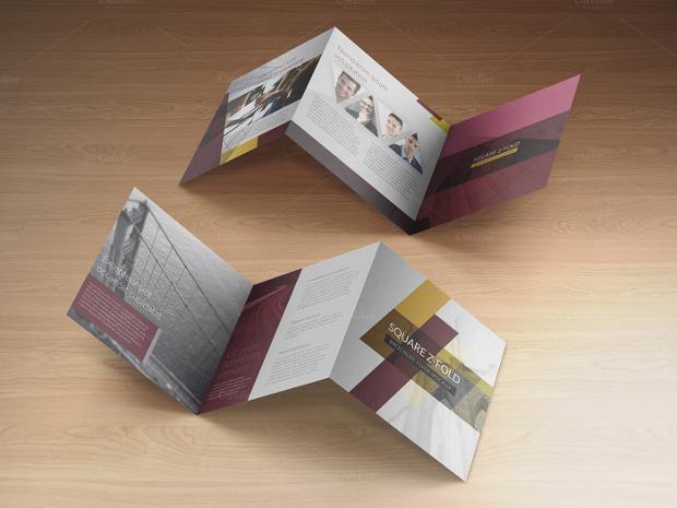 simple z fold mockup brochure design