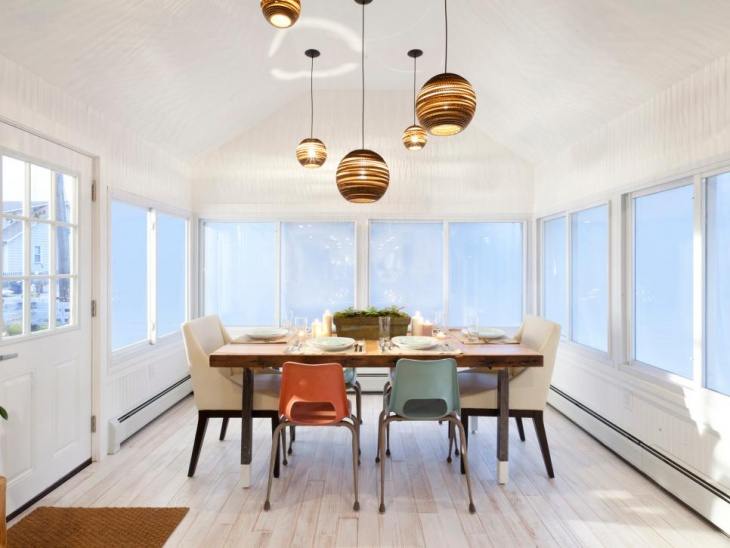Dining Room With Globe Pendant Lights