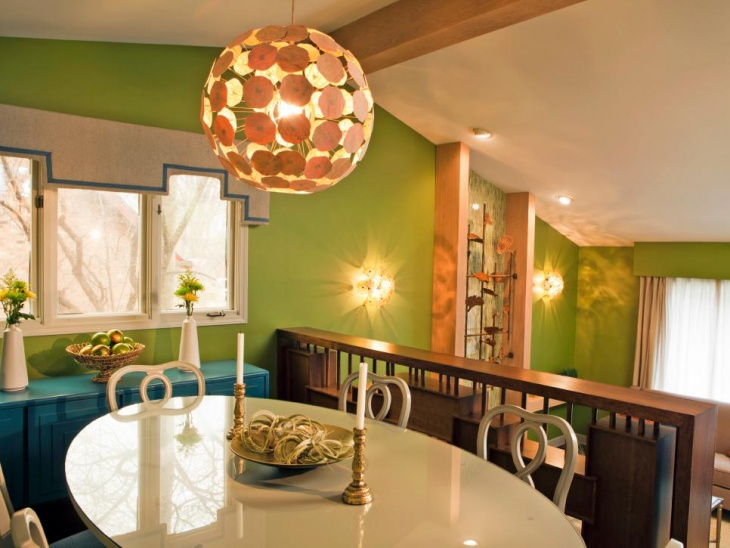 Modern Dining Room With Gold Pendant Light