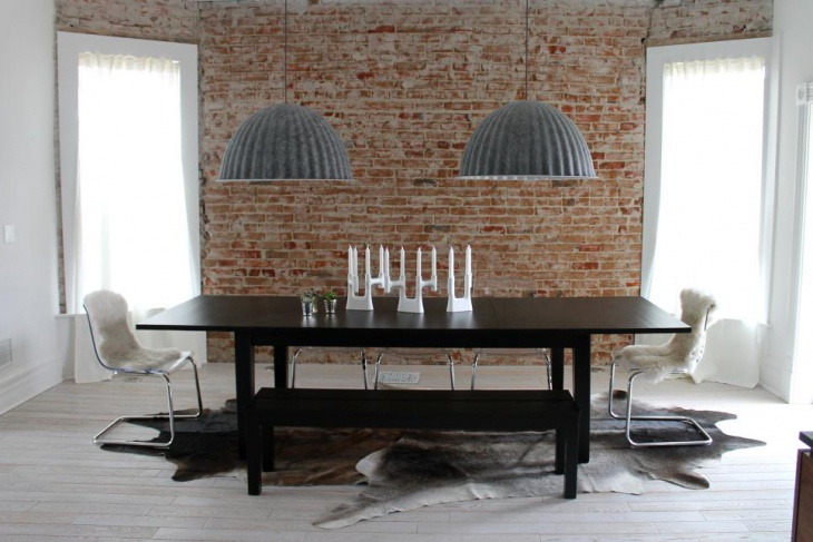 Neutral Contemporary Dining Room With Gray Pendants