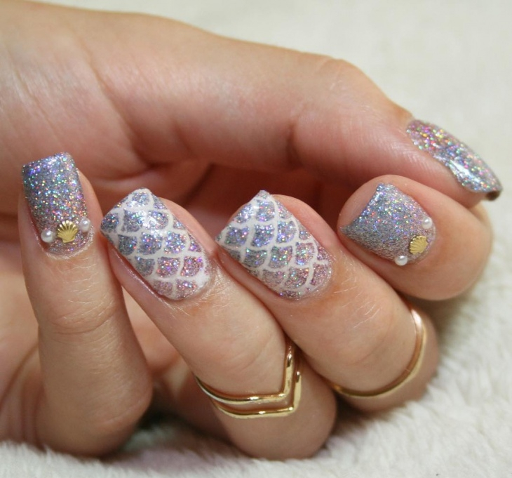 Silver Glitter Mermaid Nail Ideas