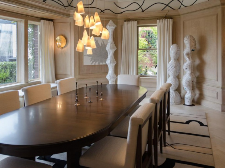 Dining Room With Fancy Pendant Lights