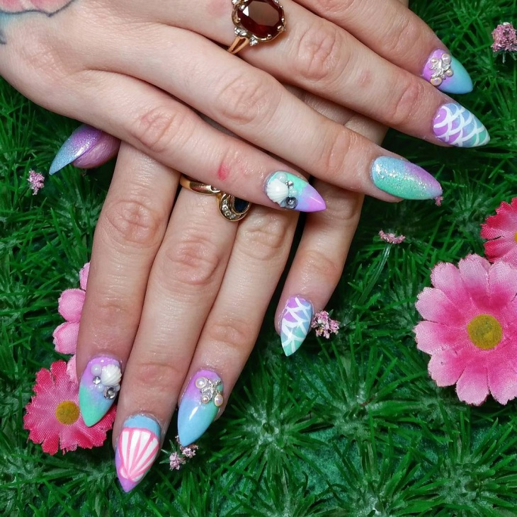 Mermaid Nail Design for Bright Nails