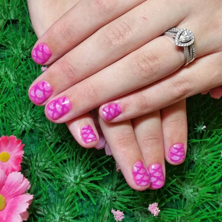 Pink Colored Mermaid Nail Art